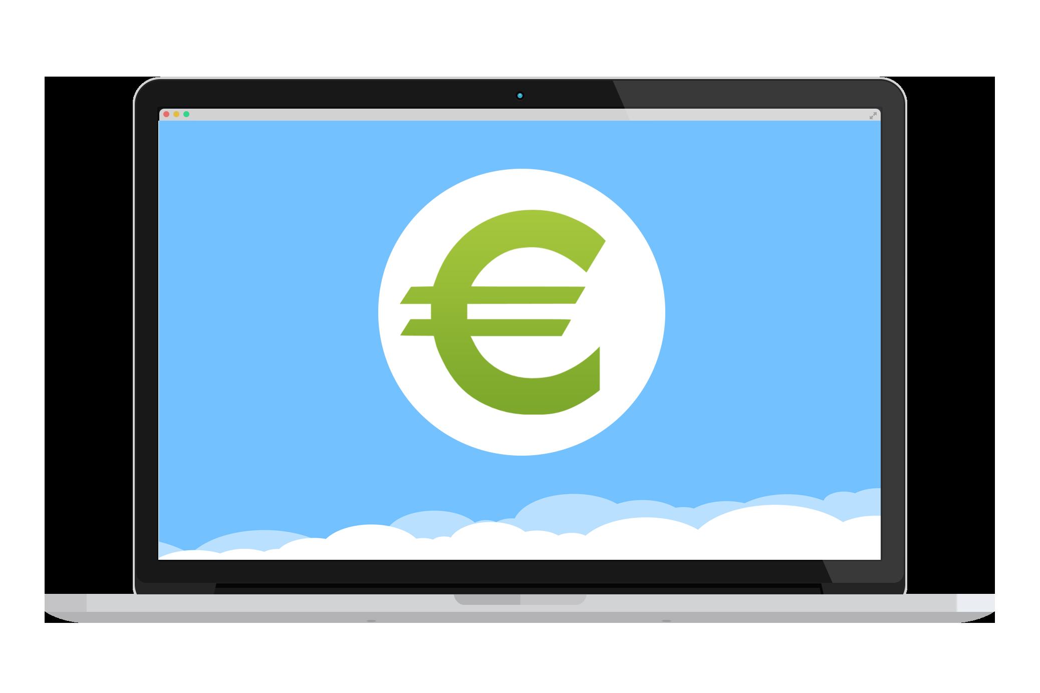 Ordinateur avec un € en fond d'écran